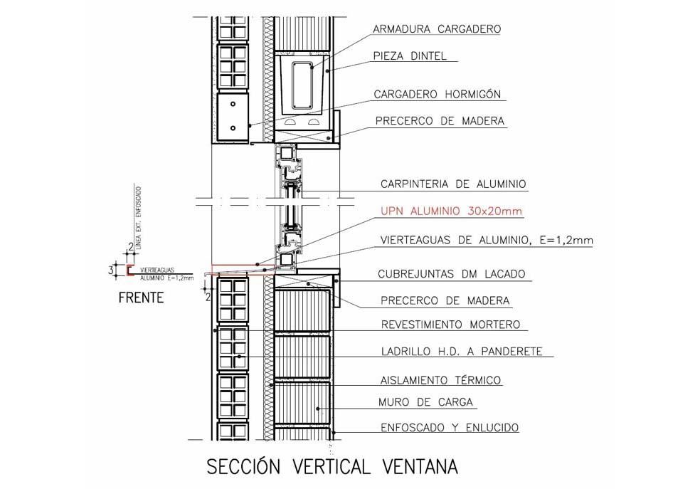 Dise o constructivo encuentro vierteaguas con fachada - Detalle carpinteria aluminio ...