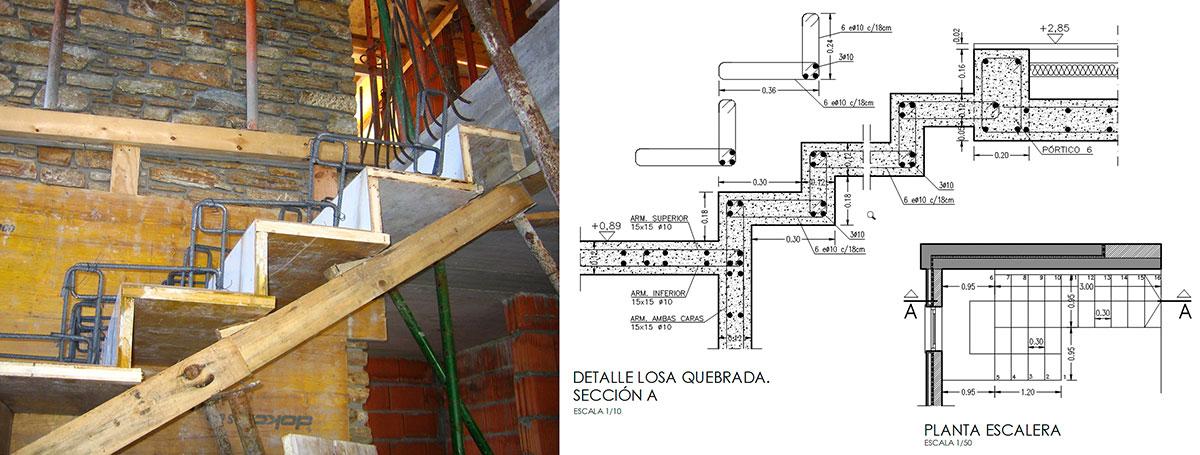 Construcci n y detalle constructivo escalera for Construccion de una escalera de hormigon